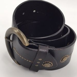 Fossil wide leather studded brown belt Medium